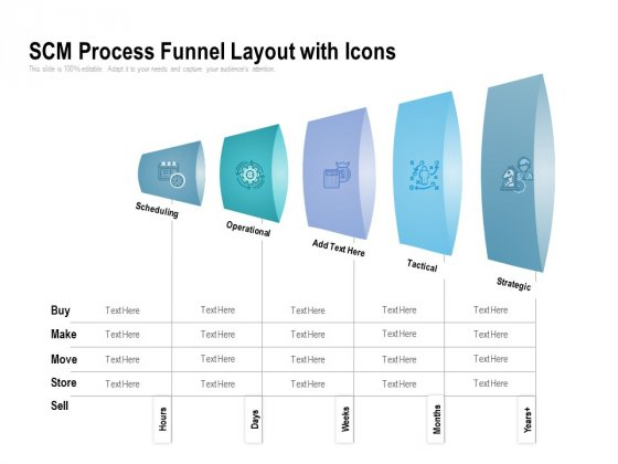 SCM Process Funnel Layout With Icons Ppt PowerPoint Presentation Outline Background Designs