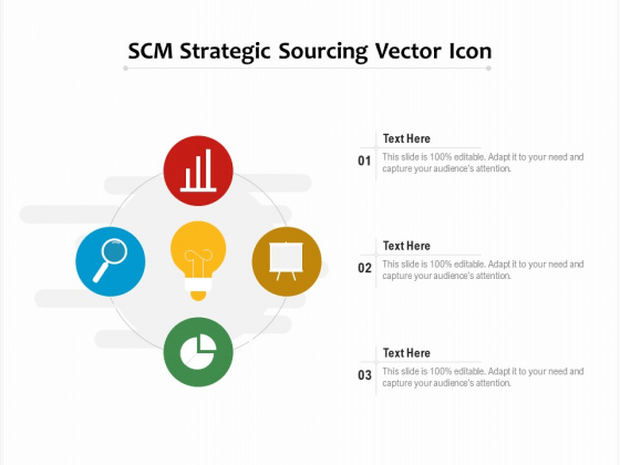 SCM Strategic Sourcing Vector Icon Ppt PowerPoint Presentation File Microsoft PDF