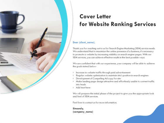 SEO Proposal Template Cover Letter For Website Ranking Services Ppt PowerPoint Presentation Professional Images PDF