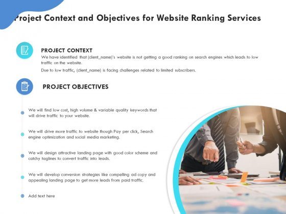 SEO Proposal Template Project Context And Objectives For Website Ranking Services Ppt PowerPoint Presentation Icon PDF