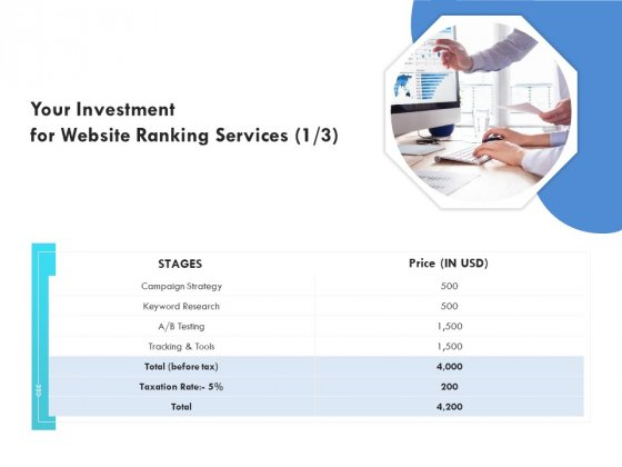 SEO Proposal Template Your Investment For Website Ranking Services Price Ppt PowerPoint Presentation Professional Brochure PDF