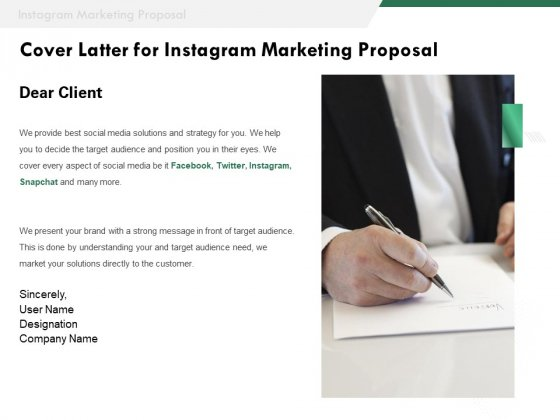 SMM Cover Latter For Instagram Marketing Proposal Ppt Pictures Layouts PDF