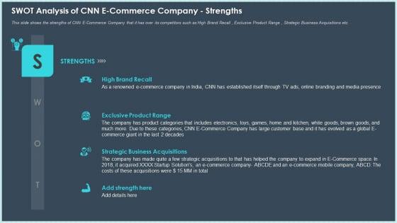 SWOT Analysis Of CNN E Commerce Company Strengths Professional PDF