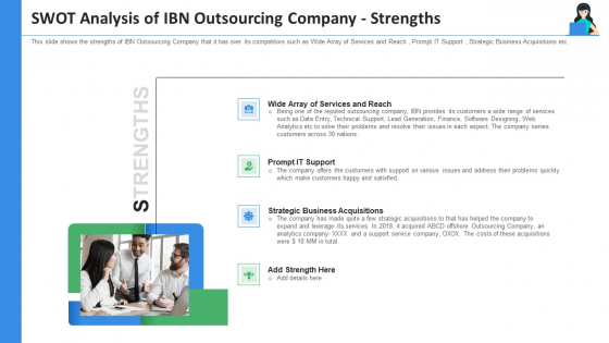 SWOT Analysis Of IBN Outsourcing Company Strengths Ppt Gallery Picture PDF