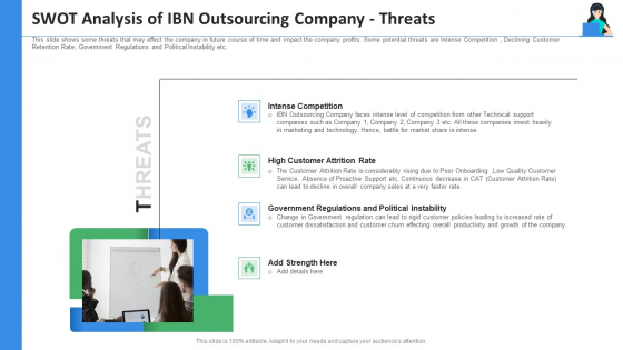 SWOT Analysis Of IBN Outsourcing Company Threats Ppt Slides Topics PDF