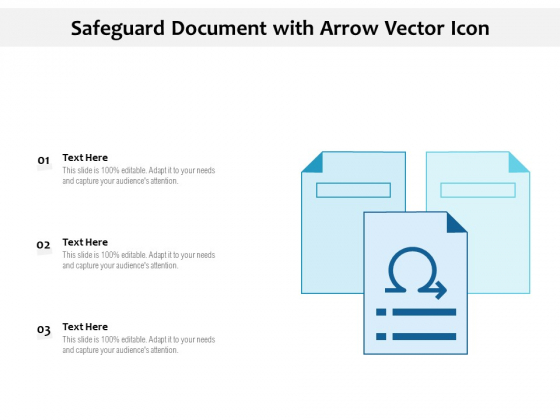Safeguard Document With Arrow Vector Icon Ppt PowerPoint Presentation Information PDF
