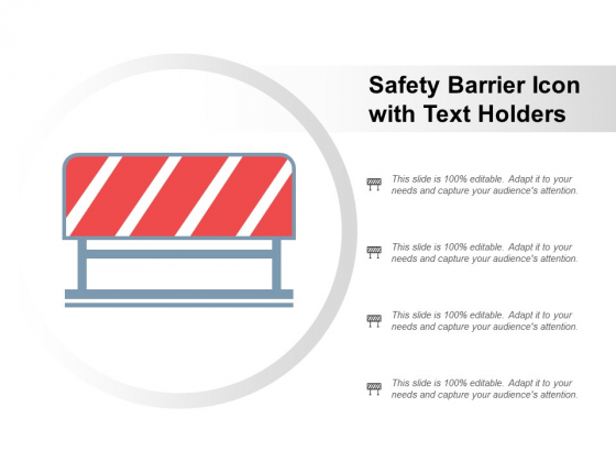 Safety Barrier Icon With Text Holders Ppt Powerpoint Presentation Model Background Designs