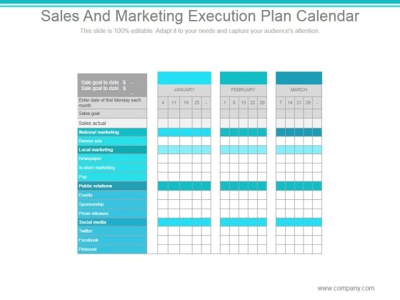 Sales And Marketing Execution Plan Calendar Ppt PowerPoint Presentation Model