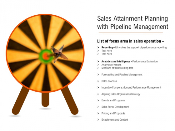 Sales Attainment Planning With Pipeline Management Ppt PowerPoint Presentation Gallery Skills PDF