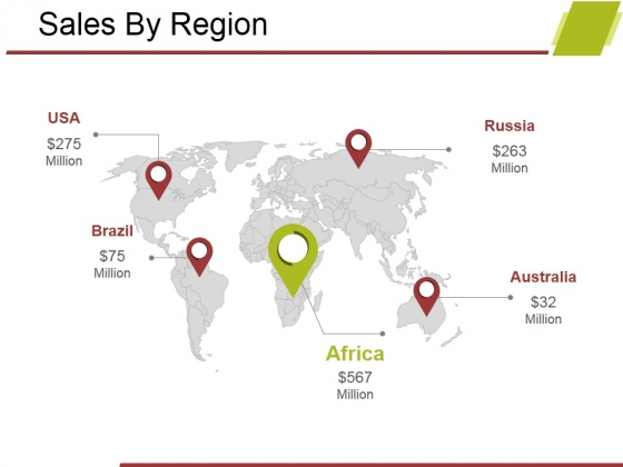 Sales By Region Ppt PowerPoint Presentation Summary Tips