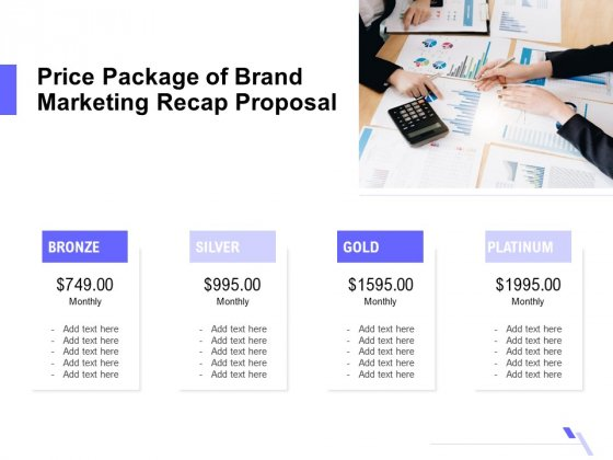Sales Campaign Recap Price Package Of Brand Marketing Recap Proposal Ppt PowerPoint Presentation Infographics Examples PDF