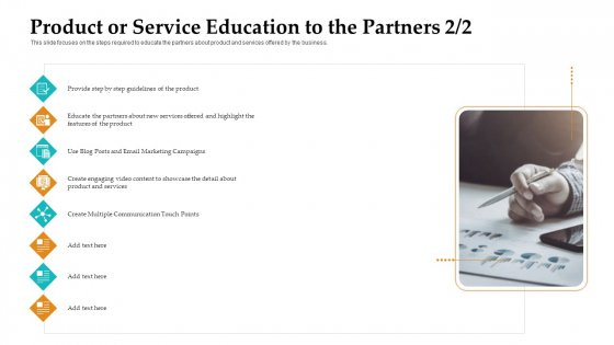 Sales Facilitation Partner Management Product Or Service Education To The Partners Step Graphics PDF