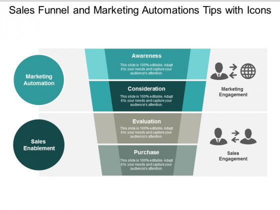 Sales Funnel And Marketing Automations Tips With Icons Ppt Powerpoint Presentation Show Template