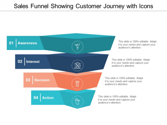 Sales Funnel Showing Customer Journey With Icons Ppt Powerpoint Presentation Infographic Template Graphics Pictures
