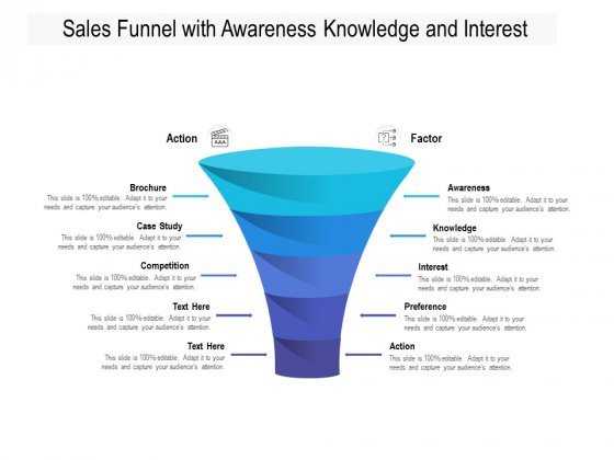 Sales Funnel With Awareness Knowledge And Interest Ppt PowerPoint Presentation File Graphic Tips