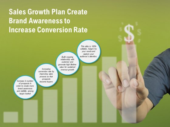 Sales Growth Plan Create Brand Awareness To Increase Conversion Rate Ppt PowerPoint Presentation File Gridlines