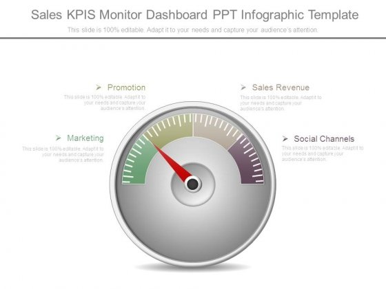 Sales Kpis Monitor Dashboard Ppt Infographic Template