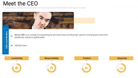 Sales Management Advisory Service Meet The CEO Ppt File Designs PDF