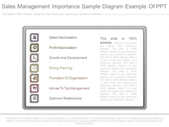 Sales Management Importance Sample Diagram Example Of Ppt