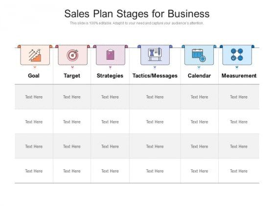 Sales Plan Stages For Business Ppt PowerPoint Presentation Inspiration Portfolio PDF
