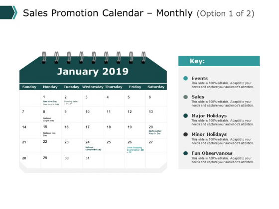 Sales Promotion Calendar Monthly Ppt PowerPoint Presentation Pictures Clipart