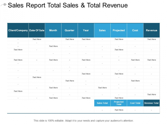 Sales Report Total Sales And Total Revenue Ppt PowerPoint Presentation Pictures Templates