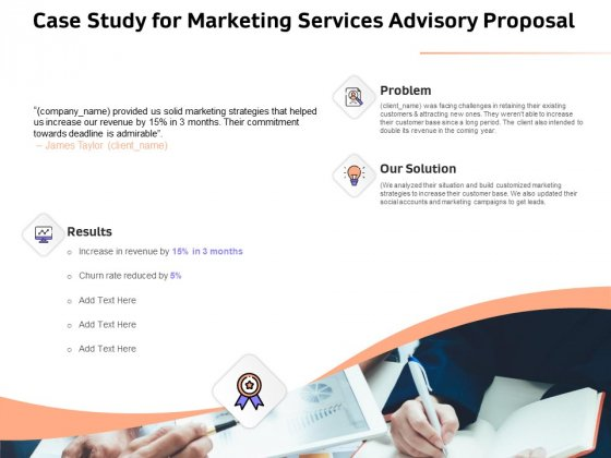 Sales Strategy Consulting Case Study For Marketing Services Advisory Proposal Infographics PDF
