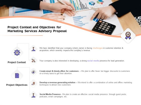 Sales Strategy Consulting Project Context And Objectives For Marketing Services Advisory Proposal Inspiration PDF