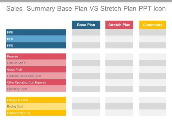 Sales Summary Base Plan Vs Stretch Plan Ppt Icon