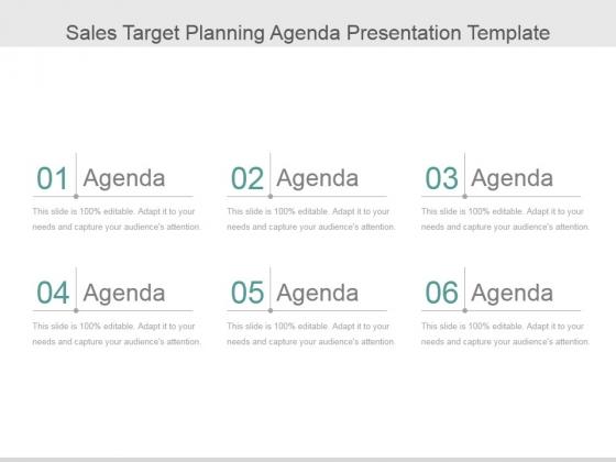 Sales Target Planning Agenda Ppt PowerPoint Presentation Samples