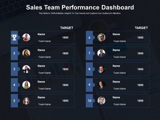 Sales Team Performance Dashboard Ppt PowerPoint Presentation Summary Infographic Template PDF