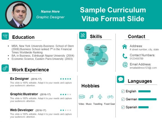 Sample Curriculum Vitae Format Slide Ppt PowerPoint Presentation Model Example PDF
