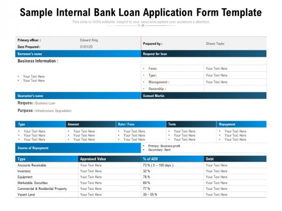 Sample Internal Bank Loan Application Form Template Ppt PowerPoint Presentation File Background Image PDF