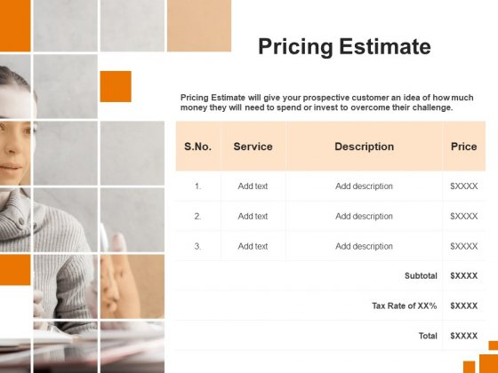Sample Of Business Plan Pricing Estimate Ppt PowerPoint Presentation Outline Show PDF