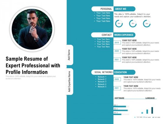 Sample Resume Of Expert Professional With Profile Information Ppt PowerPoint Presentation Pictures Background Images PDF