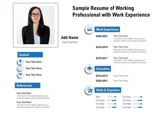 Sample Resume Of Working Professional With Work Experience Ppt PowerPoint Presentation File Mockup PDF