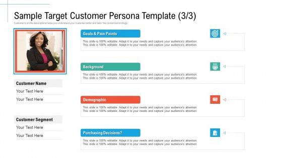 Sample Target Customer Persona Template Background Initiatives And Process Of Content Marketing For Acquiring New Users Elements PDF