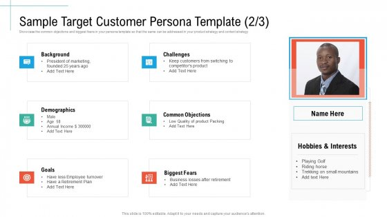 Sample Target Customer Persona Template Goals Initiatives And Process Of Content Marketing For Acquiring New Users Background PDF