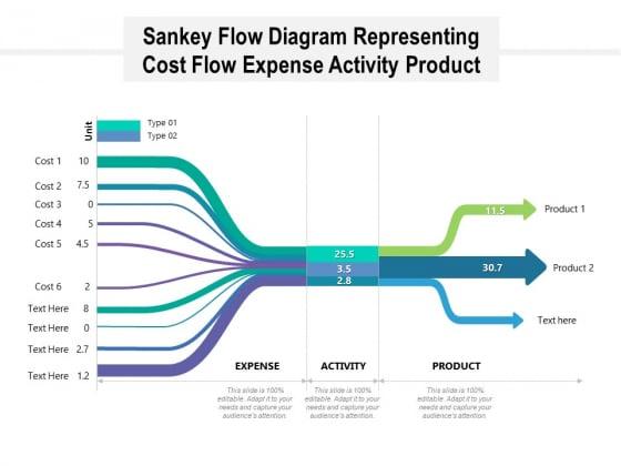 Sankey Flow Diagram Representing Cost Flow Expense Activity Product Ppt PowerPoint Presentation Portfolio Template PDF