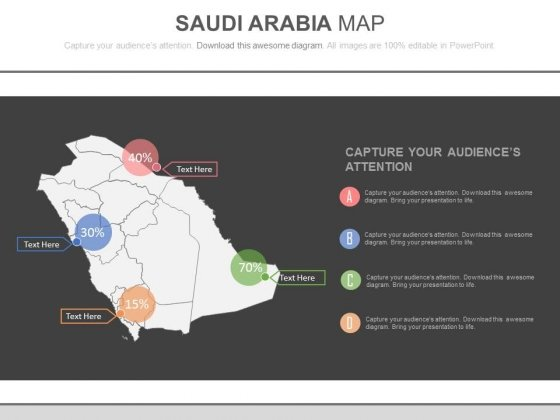 Saudi Arabia Map With Percentage Values And Icons Powerpoint Slides