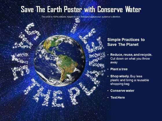 Save The Earth Poster With Conserve Water Ppt PowerPoint Presentation Styles Layouts PDF