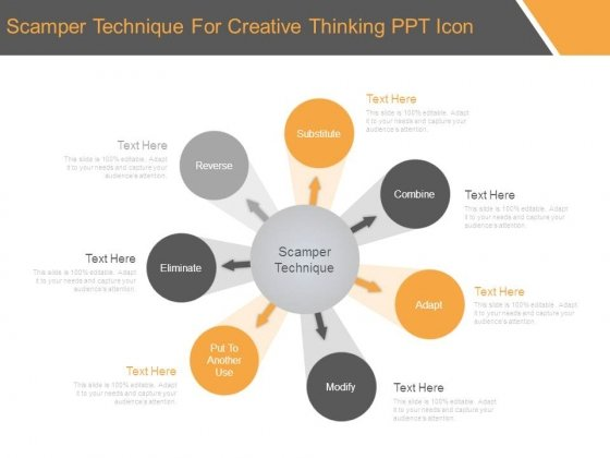 Scamper Technique For Creative Thinking Ppt Icon
