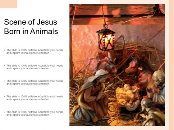 Scene Of Jesus Born In Animals Ppt PowerPoint Presentation Layouts Display