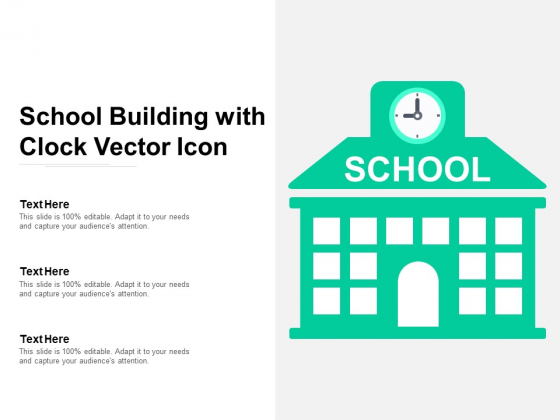 School Building With Clock Vector Icon Ppt PowerPoint Presentation Slides Show PDF
