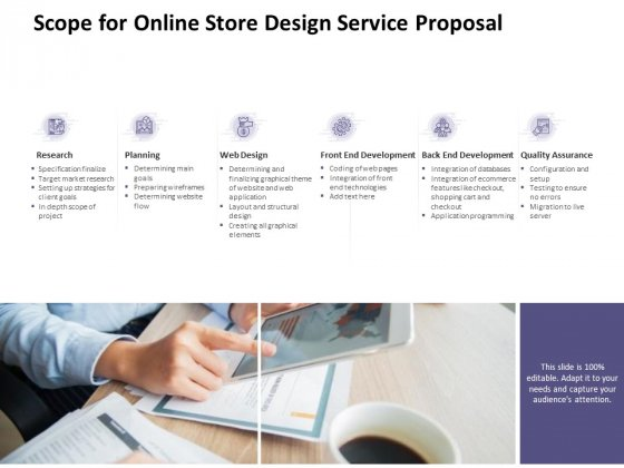 Scope For Online Store Design Service Proposal Ppt PowerPoint Presentation Infographic Template Display