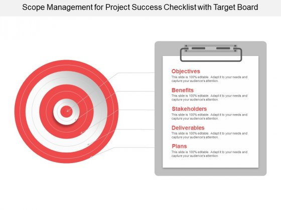 Scope Management For Project Success Checklist With Target Board Ppt PowerPoint Presentation Slides Outfit