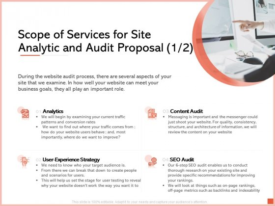 Scope Of Services For Site Analytic And Audit Proposal Content Ppt Infographics Master Slide PDF