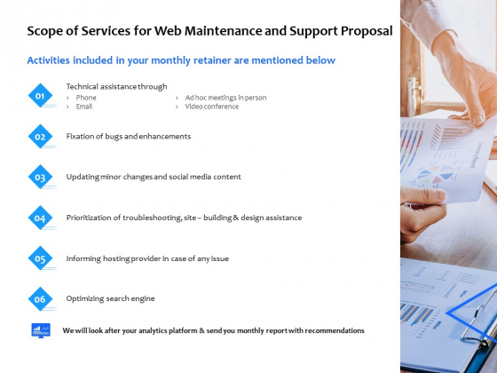 Scope Of Services For Web Maintenance And Support Proposal Ppt PowerPoint Presentation Inspiration Guide