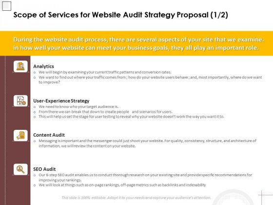 Scope Of Services For Website Audit Strategy Proposal Analytics Ppt PowerPoint Presentation Show Influencers PDF