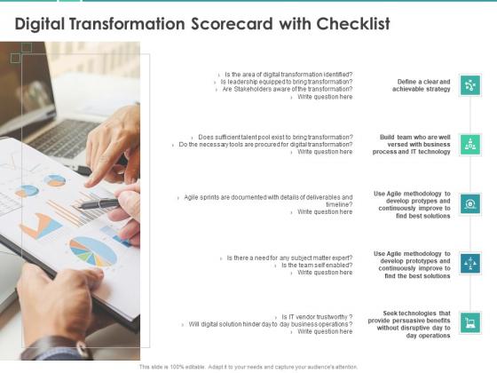 Scorecard Measure Digital Shift Progress Digital Transformation Scorecard With Checklist Rules PDF